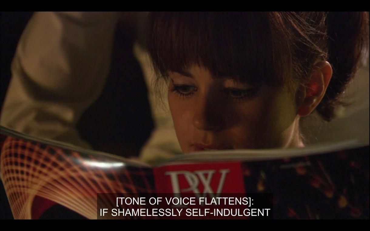"Close up of Jenny reading publisher's weekly. She is reading ""if shamelessly self-indulgent"""