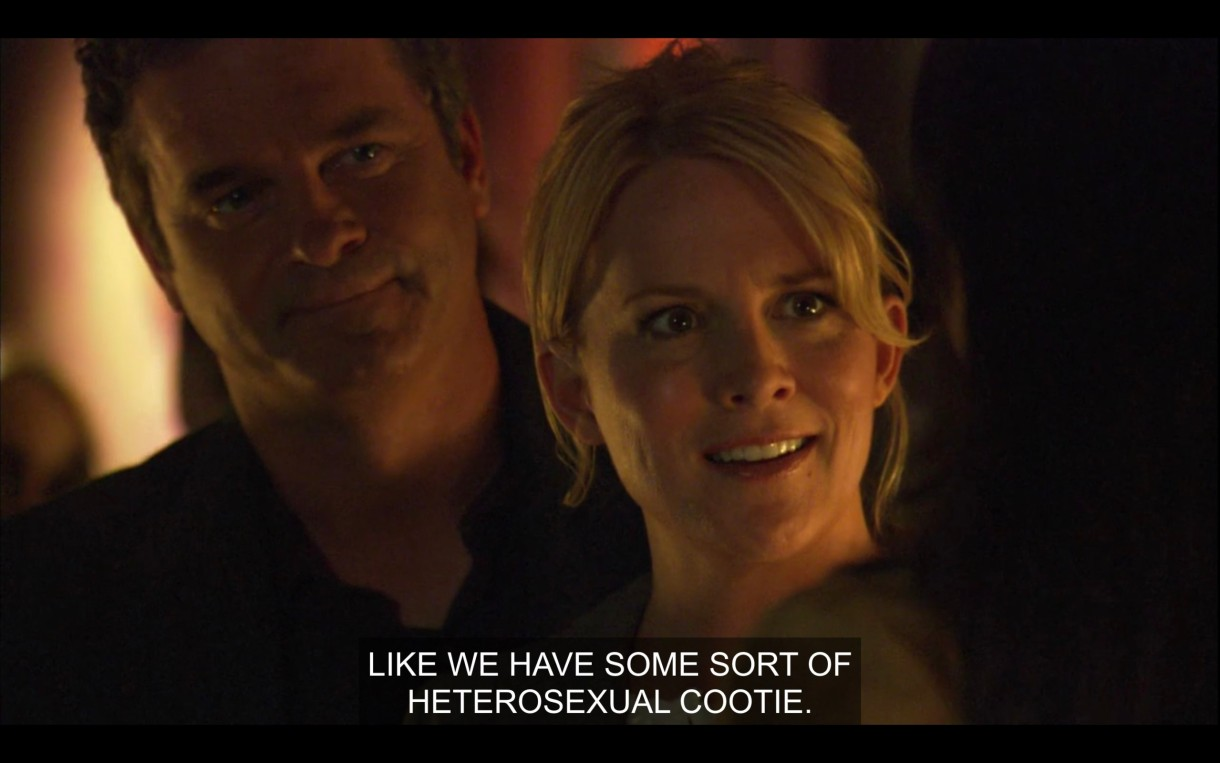 """Tina looks at Helena aghast with Henry looking like a real asshole behind her. Tina is saying """"Like we have some sort of heterosexual cootie."""""""