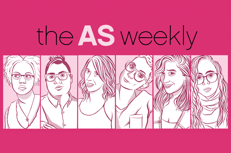 the AS weekly — Illustration of Senior Editors Carmen, Kamala, Riese, Laneia, Sarah and Rachel