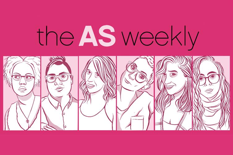 the AS weekly — Illustration of Senior Editors Carmen, Kamala, Riese, Laneia, Sarah and Rachel