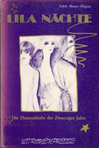 Lila Nachte Original Book Cover — Gold type, and purple background with an illustration of three fancy women wearing furs and expensive clothing