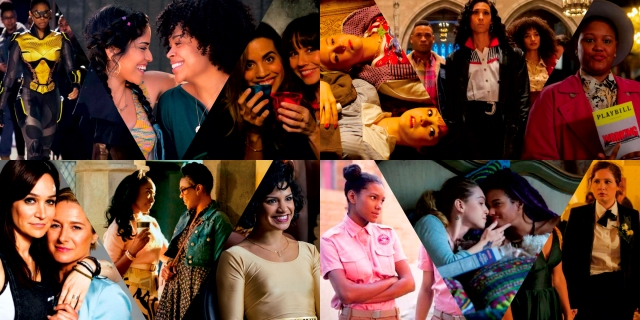 A collage of twelve out of 95 of the best lesbian, bisexual and queer TV shows to streaming on netflix. They include cute queer scenes and characters from: Black Lightning, Gentefied, Dead to Me, Skins, Pose, The Politician, Wentworth, Dear White People, Glow, and Sense8.