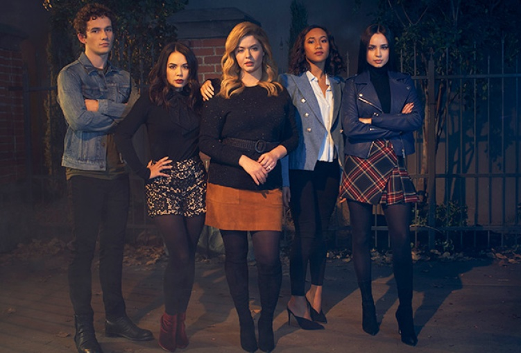 Image: allie in a mini-skirt stands in front of Mona and the three other characters this show tried to make us care about but they did not succeed.