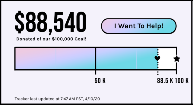 $88,540 of our $100,000 goal! Will you help? Tracker updated 4.10.20 at 7:47AM PST