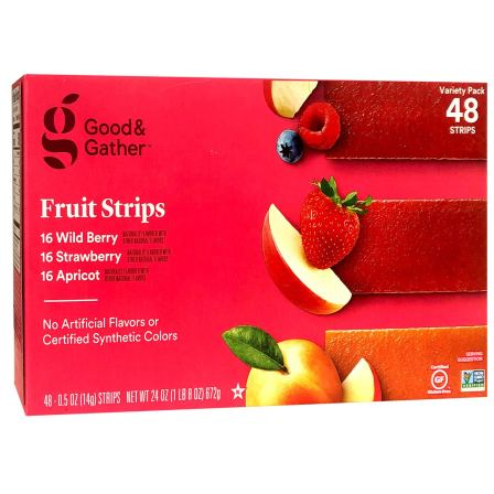A pink box of fruit strips.