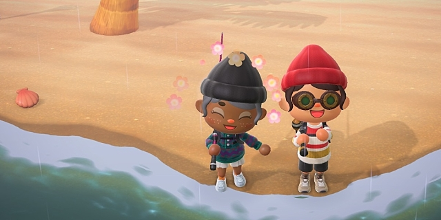 Two Animal Crossing neighbors, one who is brown and wearing a beanie, and one who is white wearing a red beanie, fish together while smiling.