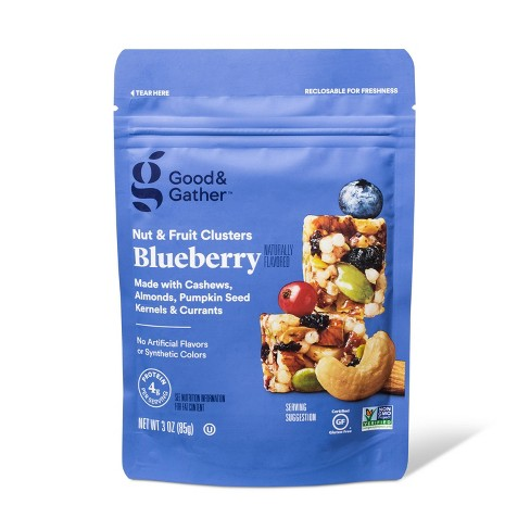 A bag of blueberry nut clusters from Target.