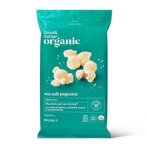 A teal bag of popcorn.