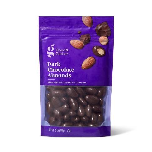 A purple bag of dark chocolate almonds.