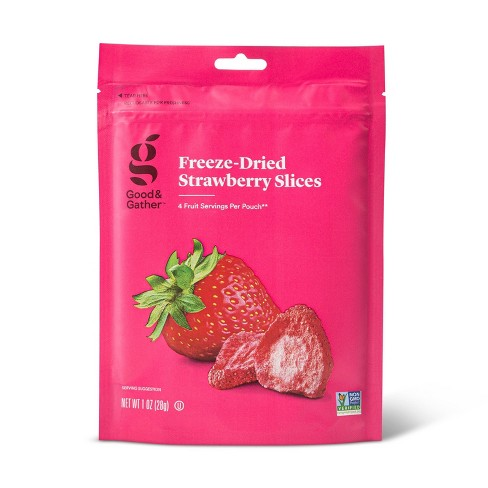 A bright pink bag of strawberries.