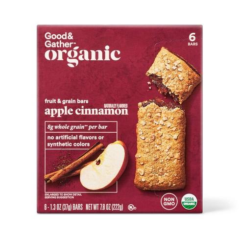 A maroon box of apple cinnamon bars with a little apple and cinnamon photo.