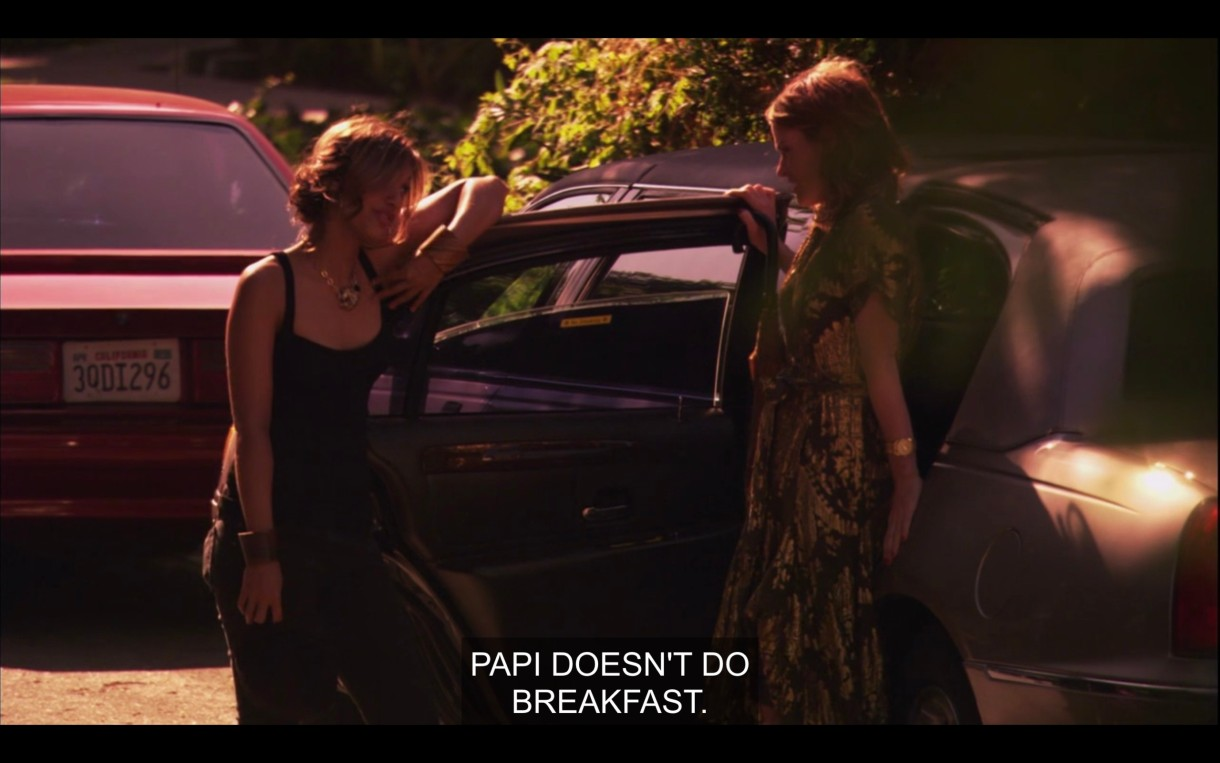 """Papi opens the car door for Alice as she gets out of the car. Papi says, """"Papi doesn't do breakfast."""""""