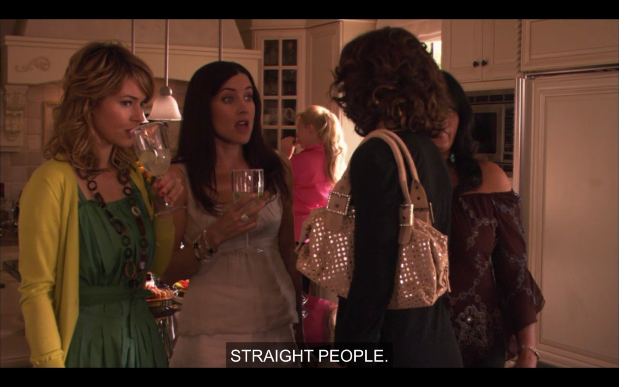 Alice, Helena, Kit, and Bette are at Tina and Henry's house party. Alice says that they're being outnumbered by straight people.