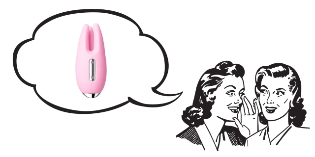 An illustration of two 50's-era styled women whispering to each other; a speech bubble contains the Cookie Vibrator, a pink three-pronged silicone vibrator