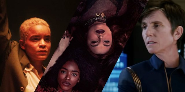 Three images from TV shows: Equal (HBO), The Craft reboot and Star Trek Discovery