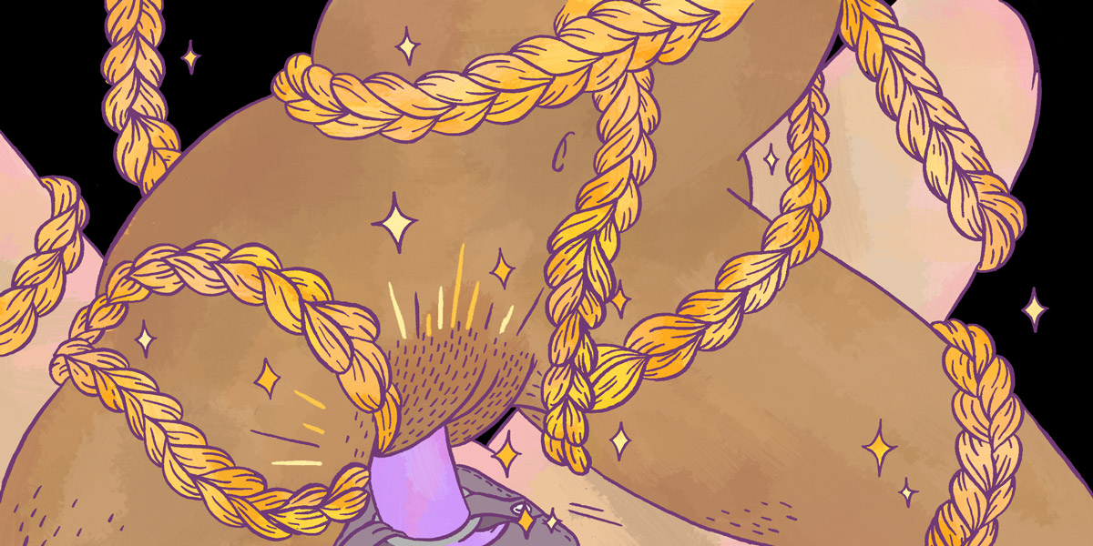 illustration of a woman riding a purple strap on, covered in sweat and wrapped in gold rope.