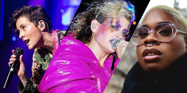 A collage of three queer Canadian musicians: First is Ria Mae, then Peaches, and last is Tika. Ria Mae and Peaches are performing on stage, while Tika stares directly into the camera.