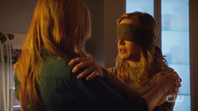 sara is blindfolded