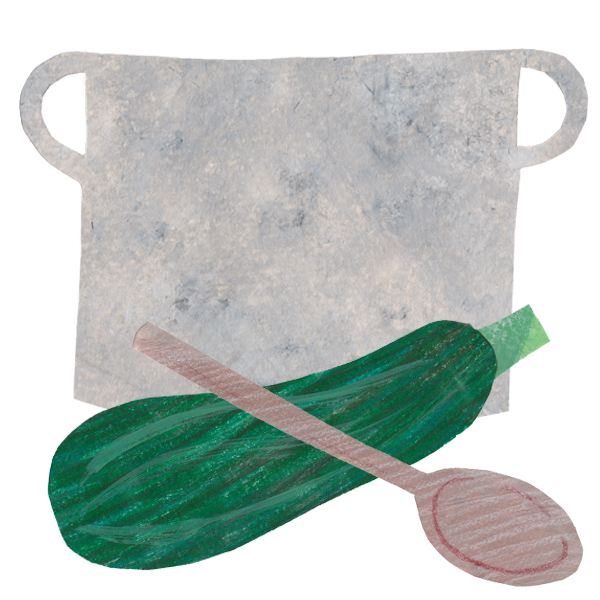 An illustration of a cooking pot with a wooden spoon and marrow