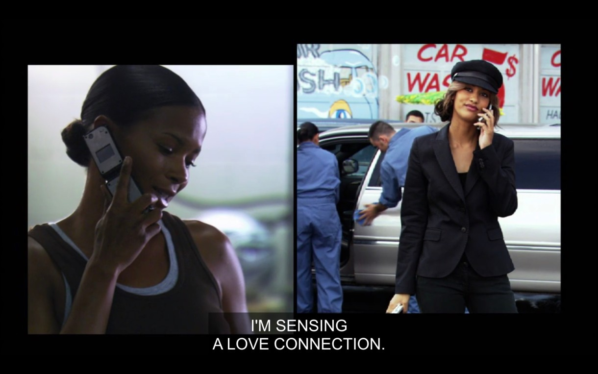 """Side-by-side visual of Tasha and Papi talking on the phone to each other. Tasha is wearing a black tank top and talking into her cell phone. Papi is in all black with a black hat standing in front of a white limo. """"I'm sensing a love connection."""""""