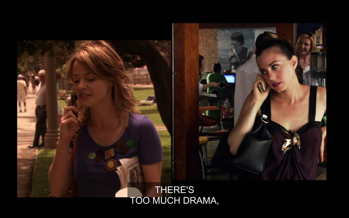 """Side-by-side visual of Alice and Jenny talking on the phone. Alice is wearing a purple top and is outside talking on her cell phone. Jenny is wearing a blank tank top with a black purse on her shoulder, talking on her cell phone inside The Planet. """"There's too much drama."""""""