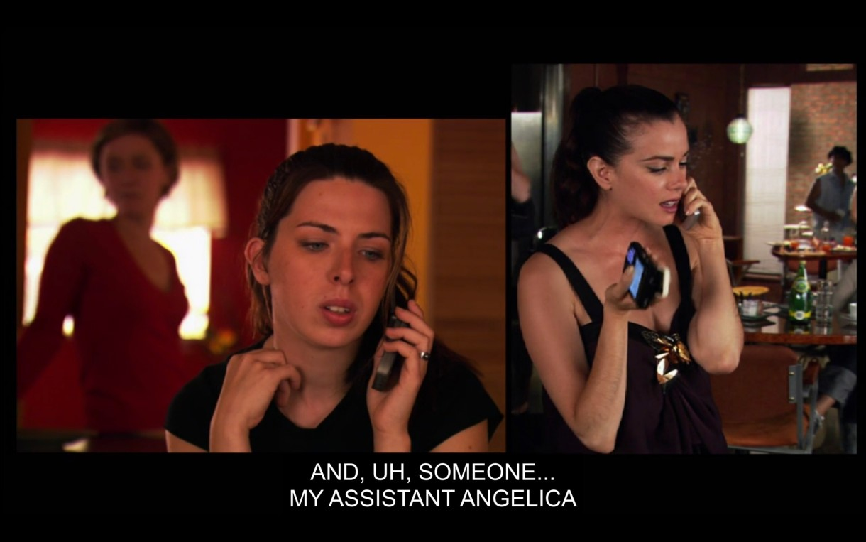 """Side-by-side visual of Stacey Merkin (with Lindsey standing behind her) and Jenny talking on the phone. Jenny says, """"And, uh, someone... my assistant Angelica."""""""