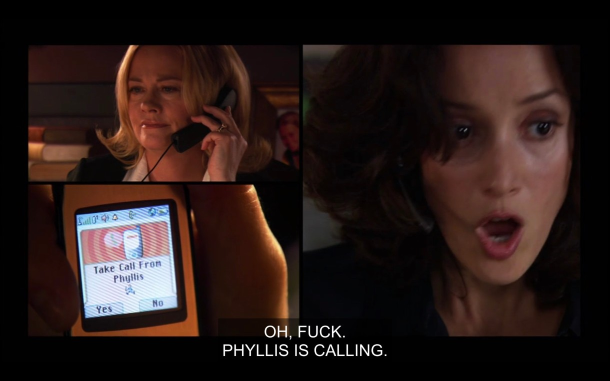 """Side by side visual demonstrating that Phyllis is calling Bette. On one side, Phyllis is holding a black landline phone to her ear. Bette has her mouth ajar as she looks at her cell phone, which says, """"Take call from Phyllis."""" Bette says out loud, """"Oh, fuck, Phyllis is calling."""""""