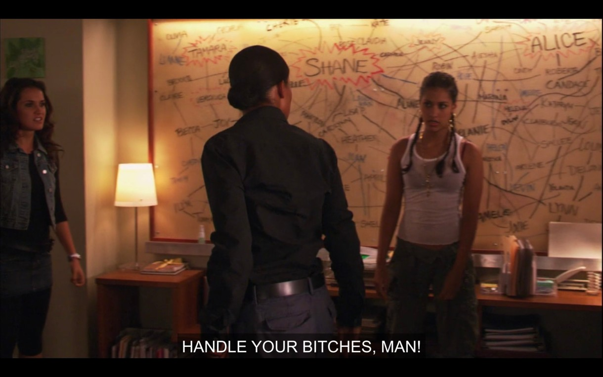 """Tasha and Papi standing in front of the giant Chart in Alice's apartment. They're facing each other in a confrontational way. """"Handle your bitches, man!"""""""