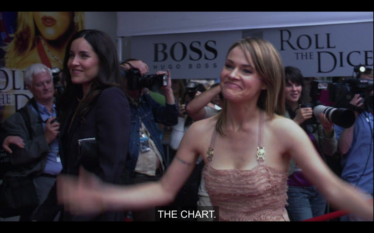 """Alice (wearing a thin strap peach colored dress) and Helena (wearing a black blazer) are standing in a crowd of photographers. Alice says, """"The Chart."""""""