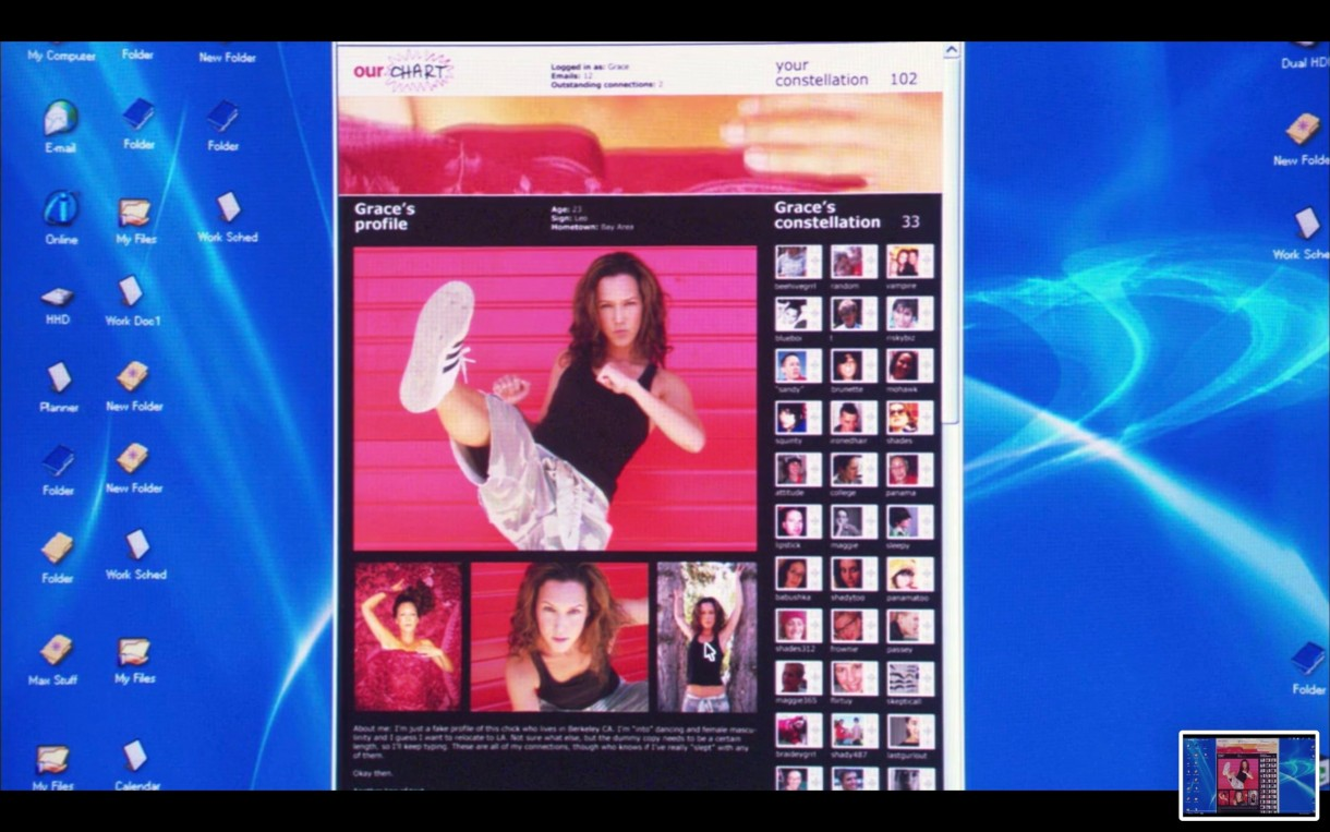Picture of a desktop computer screen, with OurChart.com pulled up on a browser window. It is showing Grace's profile, with a series of headshots of her.