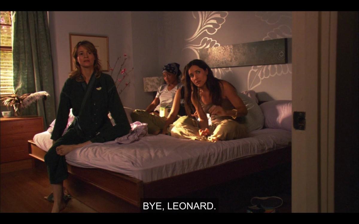 "Tasha, Alice, and Helena sitting on Alice's bed. Alice calls out the door, ""Bye, Leonard."""