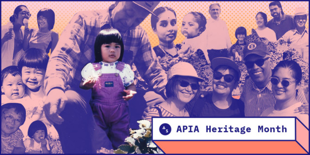 collage of photos of kamala puligandla's family, main image is toddler Kamala, posing with a strawberry in her hand, being held by her maternal grandfather. Autostraddle APIA Heritage Month