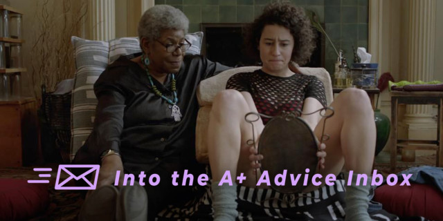 on the left, an elder therapist looks on as right, a younger client examines their genitalia in a handheld mirror, pop culture photo from Broad City