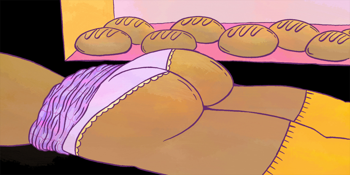 girl laying down, plaid skirt up around her waist wearing purple cheeky underwear and yellow kneesocks. in the background is a case of beautiful buns, reflecting the shape of her cheeks