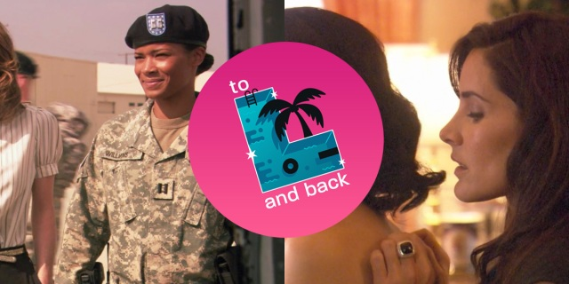"Split screen: Tasha in a military uniform on the left, Helena behind Catherine's naked body on the right. ""To L and Back"" logo in the middle."