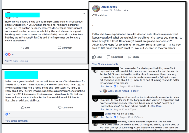 examples of fb being used to support people