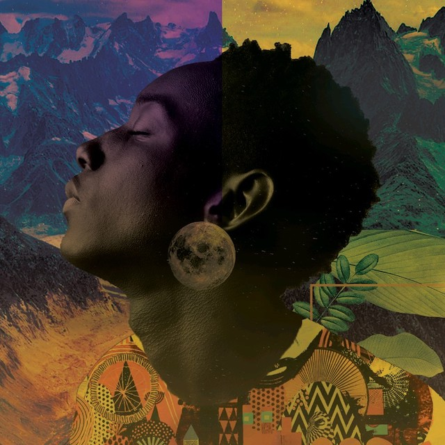 upturned profile of a black face on abstract colorful background