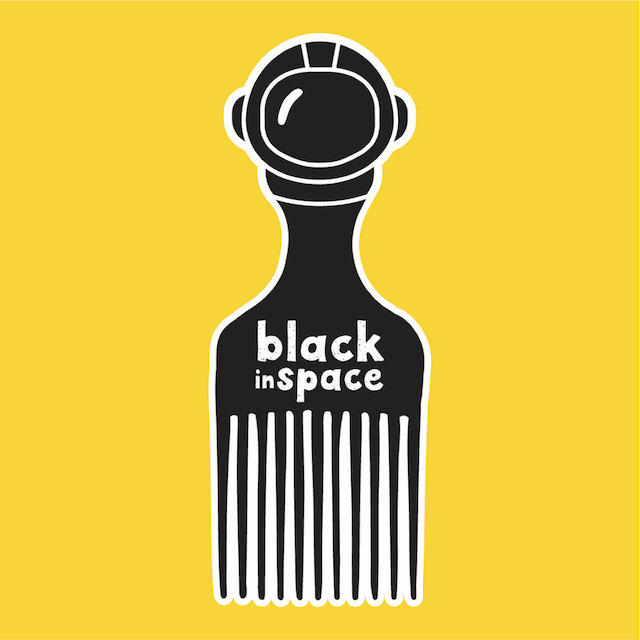 """black comb with the phrase """"black in space"""" on yellow background"""