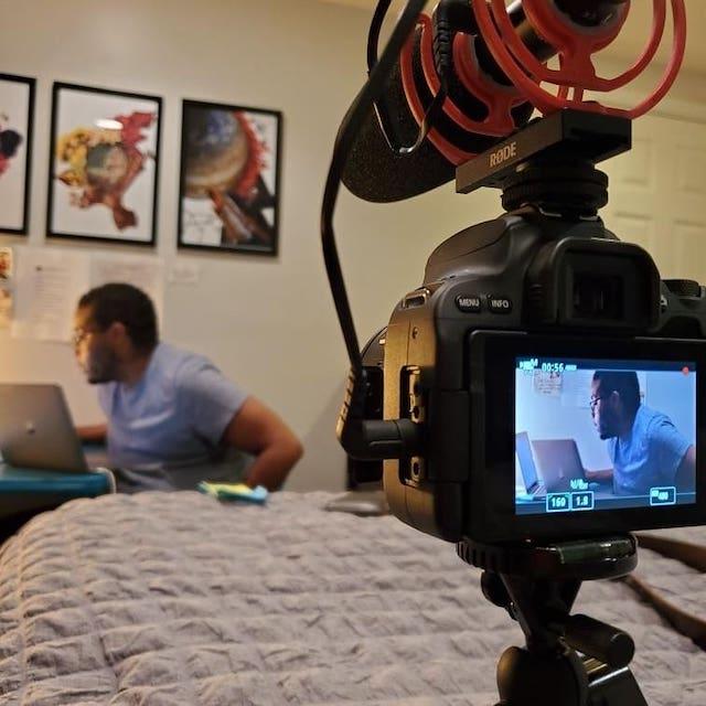camera set up in a bedroom