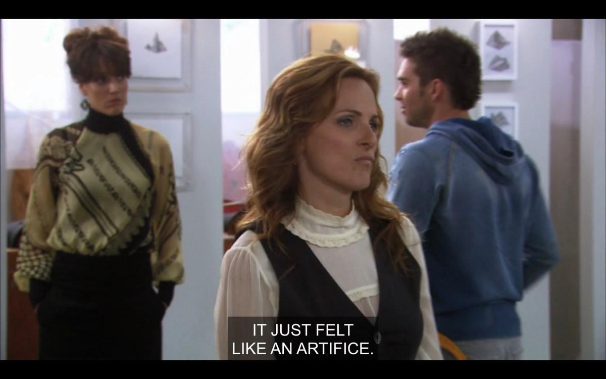 """Jodi is walking away from Bette. There's another guy in a blue hooded sweatshirt walking by. """"It just felt like an artifice."""""""