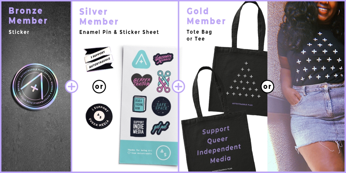 for bronze, a holographic A+ sticker, for silver stickers and an enamel pin, for gold add a tee shirt or tote