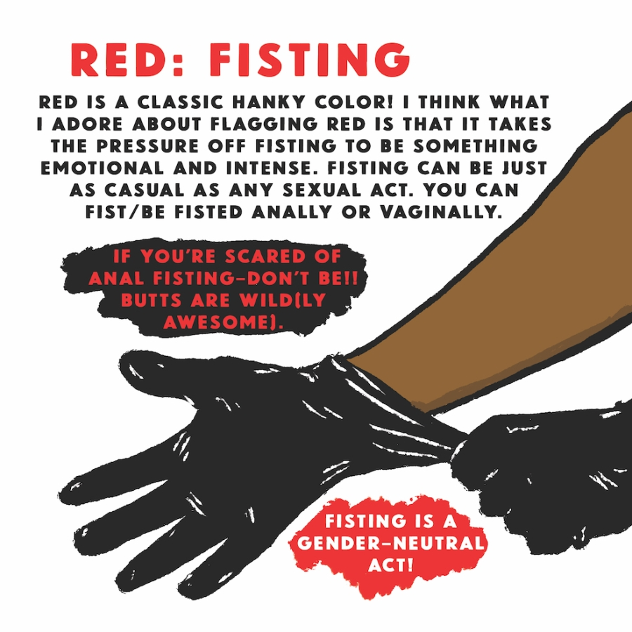 Red: Fisting — Red is a classic hanky color! I think what I adore about flagging red is that it takes the pressure off fisting to be something emotional and intense. Fisting can be just as casual as any sexual act. You can fist/be fisted anally or vaginally. If you're scared of anal fisting - don't be! Butts are wild(ly awesome). Fisting is a gender-neutral act!