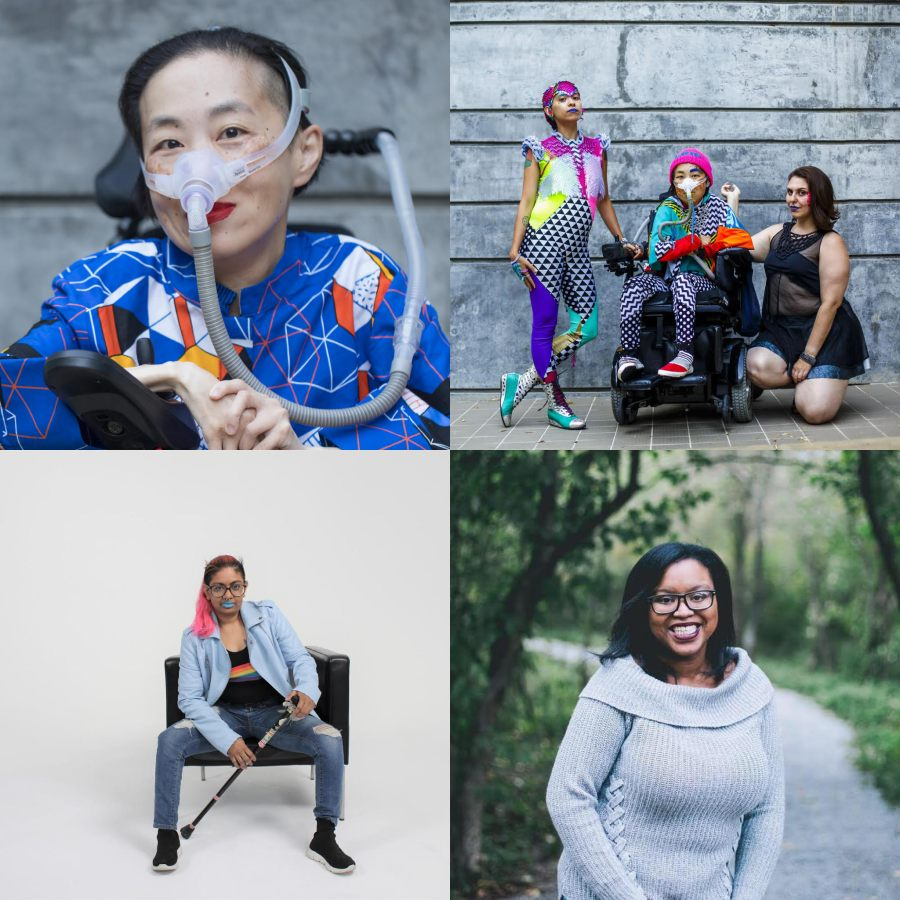 Four photos arranged in a square. At top left, Alice Wong, an Asian American woman, in a power chair. She is wearing a blue shirt with a geometric pattern with orange, black, white, and yellow lines and cubes. She is wearing a mask over her nose attached to a gray tube and bright red lip color. She is smiling at the camera. At top right, Sky Cubacub stands next to Alice Wong and Nina Litoff wearing a brightly colored, patterned jumpsuit. They are posing triumphantly. At bottom right, Keah Brown, a Black woman, stands outdoors on a garden path, smiling at the camera. She is wearing glasses and a gray sweater with a cowl neck. At bottom right, Mari Ramsawakh, brown person with long pink hair poses on a black chair with their cane. They are wearing bright blue lipstick, a light blue leather jacket, a black shirt with a rainbow on it, distressed jeans, and black laceless sneakers.