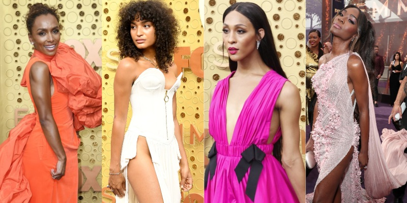 Collage of Pose Executive Producer Janet Mock, Pose actor Indya Moore, Pose actress Mj Rodriguez, and Pose actress Angelica Ross