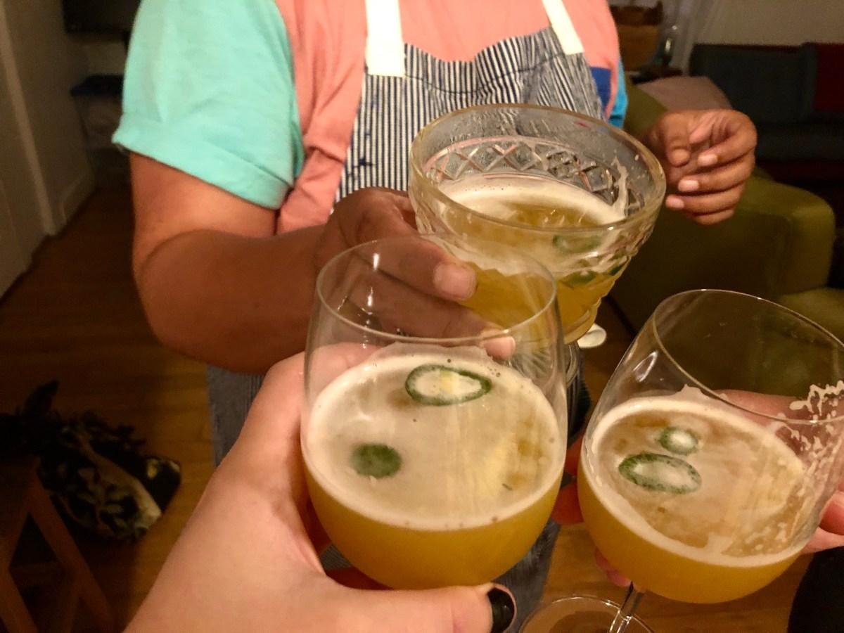 three drinks cheersing