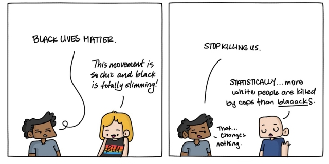"Cartoon of the artist, Dickens, discussing Black Lives Matter with two white strangers. The first white stranger makes a joke that the Black t-shirt she's wearing with Black Lives Matter on it is ""so slimming"" the second stranger erroneously compares statistics of white vs. Black victims of police brutality."