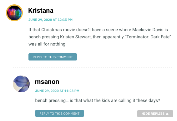 """If that Christmas movie doesn't have a scene where Mackezie Davis is bench pressing Kristen Stewart, then apparently """"Terminator: Dark Fate"""" was all for nothing."""