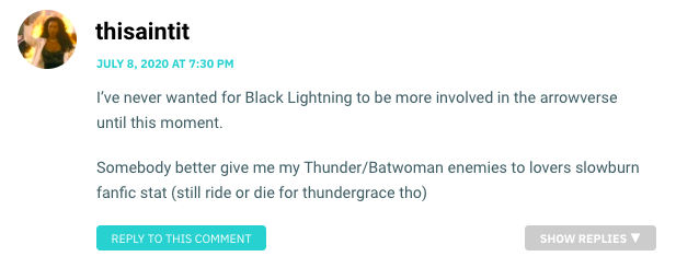 I've never wanted for Black Lightning to be more involved in the arrowverse until this moment. Somebody better give me my Thunder/Batwoman enemies to lovers slowburn fanfic stat (still ride or die for thundergrace tho)