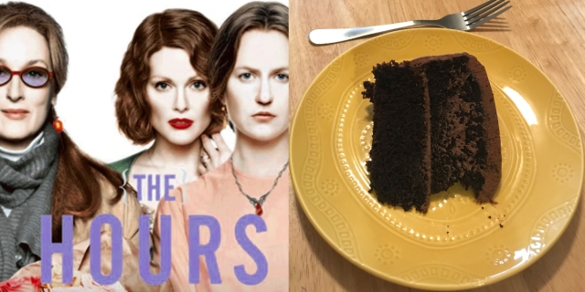 "A collage of a poster from the movie ""The Hours"" starring Meryl Streep, Julianne Moore, and Nicole Kidman — along with a slice of homemade double chocolate cake on a yellow plate with a fork."