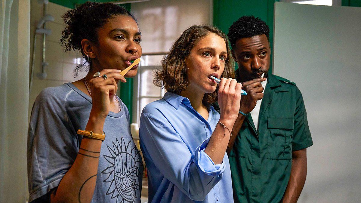 "Gemma, Ray and Kieran brush their teeth in a shared bathroom in the HBO triad-centric romantic comedy ""Trigonometry"""